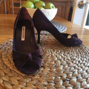 Manolo Blahnik purple peep toe d'Orsay pump